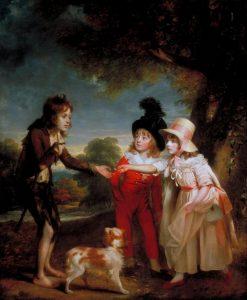 Portret van de kinderen van Sir Francis Ford die een munt geven aan een bedeljongen vanSir William Beechey