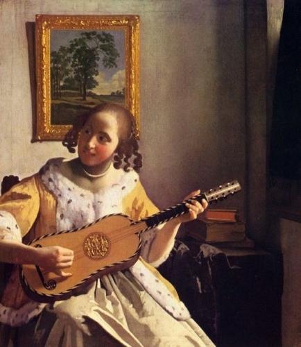 Johannes Vermeer, de gitaarspeelster, 1672, olieverf op doek