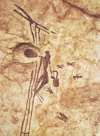 8000 jaar oude schildering in Arana Cave in Spanje