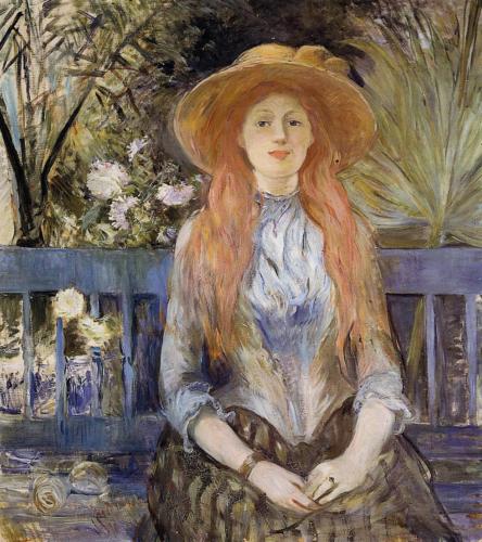 Berthe Morisot - Julie Manet met strohoed 1893 Olieverf op doek