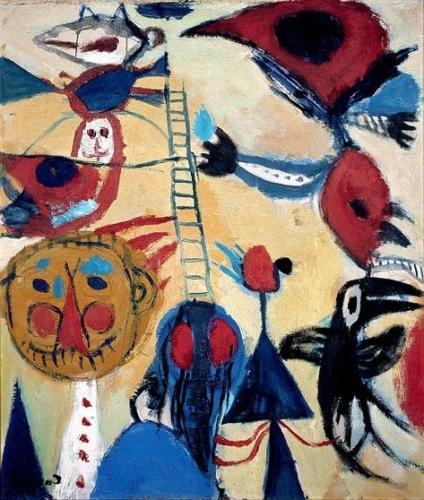 Constant Nieuwenhuys, De kleine ladder 1949 Olieverf op doek