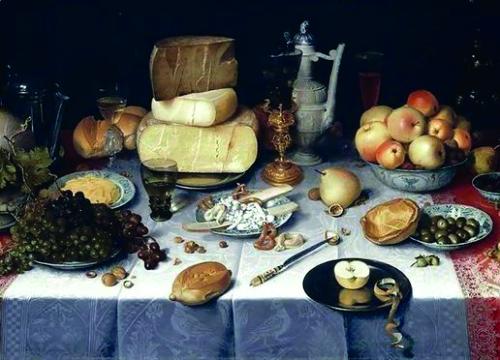 Floris van Dijck - Pronkstilleven met vruchten, kazen, brood en wijn 1610 Olieverf op doek