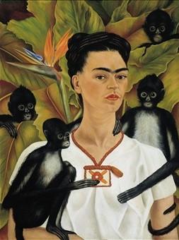 Frida Kahlo, Self-Portrait with Monkeys (Zelfportret met apen) 1937 Olieverf op doek