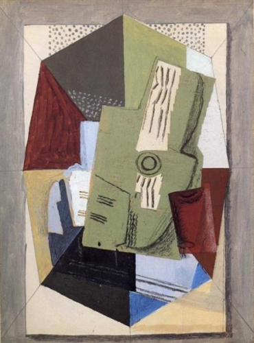 Georges Braque, Guitar and Sheet Music on Table 1918 Olieverf op doek