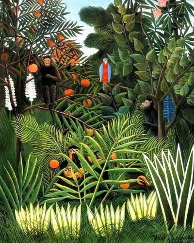 Henri Rousseau, Monkeys in the Jungle 1909 Olieverf op doek