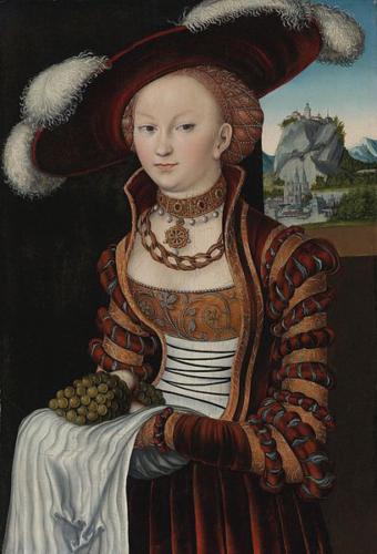 Lucas Cranach - Portret van een jonge vrouw met druiven 1528 Olievref op paneel