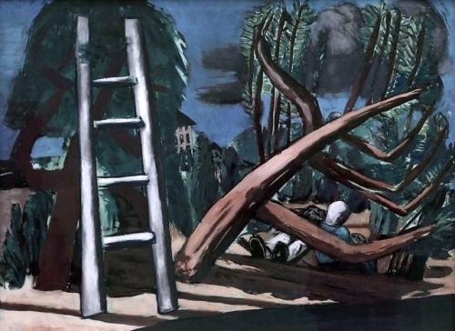 Max Beckmann, Große Gewitterlandschaft 1932 Olieverf op doek