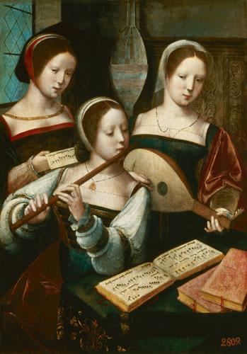 Meester Van De Vrouwelijke Halffiguren, Musicerend gezelschap 1530 Olieverf op paneel