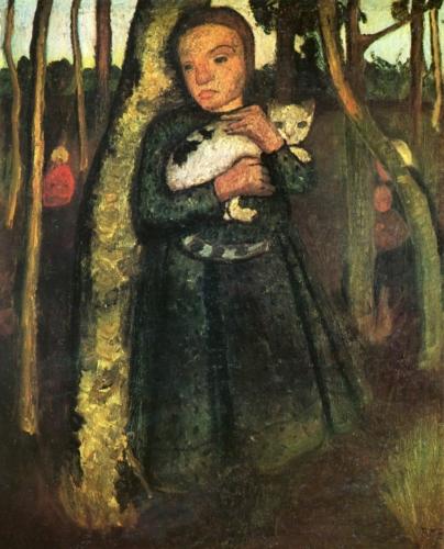 Paula Modersohn-Becker, Mädchen mit Katze im Birkenwald 1904 Olieverf op doek
