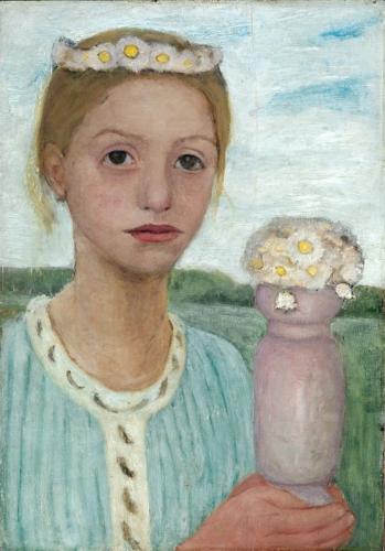 Paula Modersohn-Becker - Meisje met bloemenkrans 1902-03 Olieverf op doek