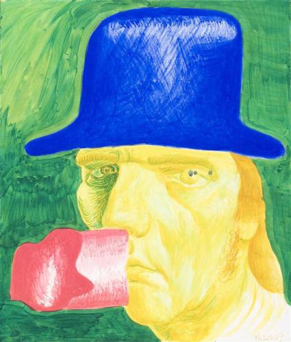 Philip Akkerman - Self-portrait no.60 2009 Olie op maçonniek paneel