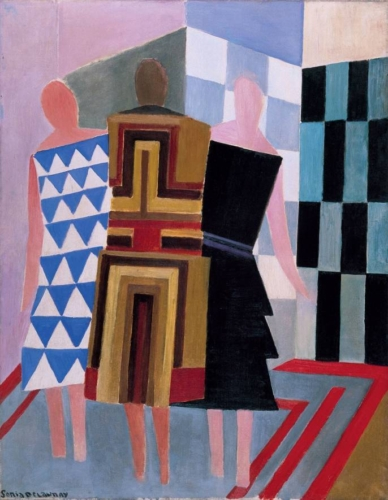Sonia Delaunay, Simultaneous Dresses (Three Women, Forms, Colours) 1925 Olieverf op doek